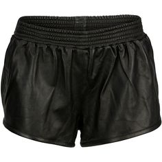 VIPARO Black Sport Luxe Lambskin Leather Track Shorts - Bailey ($135) ❤ liked on Polyvore featuring shorts, bottoms, black, pull on shorts, elastic waist shorts, elastic waistband shorts, sports shorts and low rise shorts