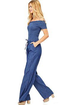 c1a0fb96ce28 Amazon.com  Hendi Women s Juniors Off-Shoulder Denim Jumpsuit  Clothing ...