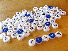 Jogos matemáticos feitos com tampinhas pet | Pra Gente Miúda