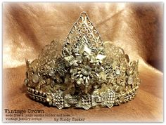 This is a crown made from a large candle holder and vintage jewelry pieces