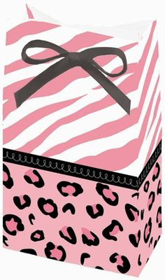 """The pink zebra stripes and classic leopard print of the Sweet Safari Girl design decorate the Sweet Safari Girl Shower Favor Bags.  These favor bags are just the right size for delicious candy or other small fun surprises!  Each bag measures 6"""" tall x 3.5"""" wide.  Each package contains 12 favor bags."""