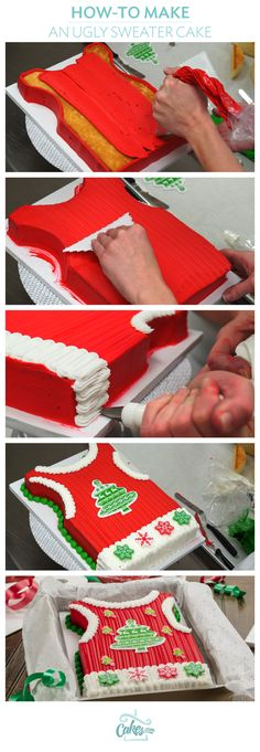 Learn how to make an Ugly Sweater Vest Cake. #tutorial #uglysweaterparty