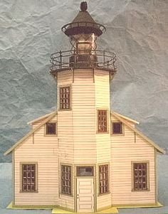 paper model lighthouse dollhouse front view. downloadable kit available at kineticpaper.weebly.com