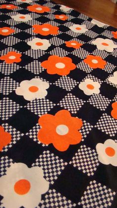 Vintage Flower Power Orange and Blue Polyester Lightweight Knit Seventies Fabric. I would have LOVED a dress or smock top made out of this. Retro Fabric, Vintage Fabrics, Vintage Patterns, Vintage Prints, Vintage Designs, Textiles, Textile Prints, Textile Patterns, Textile Design