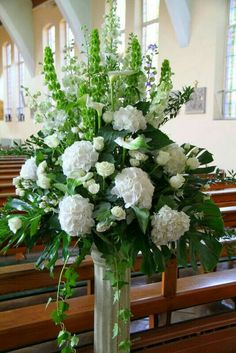 54 Ideas for wedding church alter flowers floral arrangements Church Wedding Flowers, White Wedding Flowers, Funeral Flowers, White Flowers, Beautiful Flowers, Wedding Greenery, White Hydrangeas, Wedding White, White Roses
