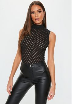 a sleevleess bodysuit featuring high neck and in a chevron style regular fit Mid Length - Sits at the hips Polyester Elastane Julia wears a UK size 8 / EU size 36 / US size 4 and her height is All Black Outfits For Women, Black Women Fashion, White Outfits, Look Fashion, Sexy Outfits, Fashion Outfits, Womens Fashion, Fashion Tips, Dressy Outfits