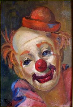 Clown Paintings, Cute Clown, Vintage Clown, Clown Faces, Send In The Clowns, Acrylic Painting Lessons, Clowning Around, Circus Clown, Small Paintings
