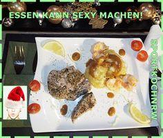 """""""Liebe geht durch den Magen"""" oder wenn das Essen sexy macht!: Tunfischsteaks mitgroßen Knoblauchgarnelen am Man..."""