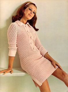 PDF Vintage Womens Ladies 'Sugar-Pink' Lacy Dress Knitting Pattern like Crochet Dress Baby Doll Mod Sex Kitten Go-Go Skater Oversized Vintage Outfits, Vintage Dresses 1960s, Retro Outfits, Sixties Fashion, Retro Fashion, Vintage Fashion, 1960s Fashion Women, Gothic Fashion, Women's Fashion