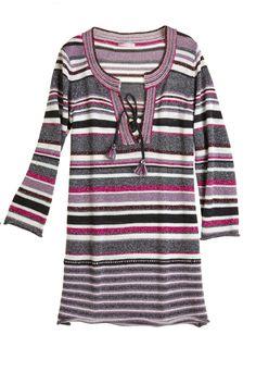 Metallic striped sweater tunic.