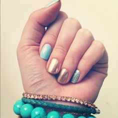 gold and blue nails