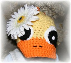 Crocheted Duck Hat for Baby  Ready to Ship  by BellaLinaBoutique.etsy.com