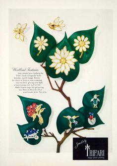 "1949 Trifari costume jewelry ad lovely rhinestone pins earrings, a ""Woodland Fantasy"""
