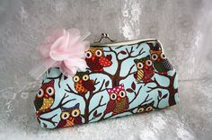 Cute owl flower clutch cottage chic chiffon purse by missvirgouk, $7.50, handmade accessory coin bag wallet cosmetic bag multi-purpose