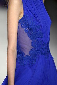 Silk chiffon and corded embroidery on tulle applique | Tadashi Shoji Fall 2014