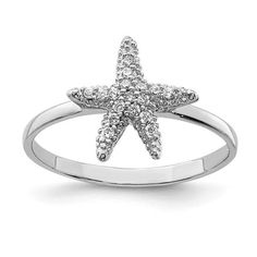 Sterling Silver Rhodium-plated Polished CZ Starfish Ring / STYLE: QR6229-6 #StarfishRing Body Jewelry, Jewelry Gifts, Fine Jewelry, Starfish Ring, Types Of Rings, Jewelry Trends, Fashion Rings, Band Rings, Gifts For Women