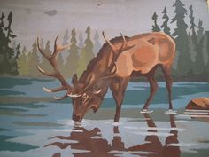 "Vtg Paint by Numbers Buck Deer 14"" x 10"" Animal Wildlife Forest Woodland  #unknown"