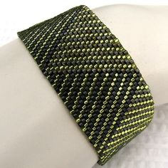 Chartreuse with Grey Log Cabin Braid Peyote Cuff (2171)