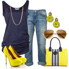 Navy and Yellow Clothes  Outift for • teens • movies • girls • women •. summer • fall • spring • winter • outfit ideas • dates • parties Polyvore :) Catalina Christiano