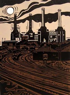 ✦ 'age of power' - jason clarke - linocut Woodblock Print, Industrial Paintings, Cityscape, Linocut, Poster Art, Art, Linocut Art, Industrial Art, Map Art