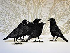 The Lecture / Elisabeth Sommerville Stone /lithograph Crow Art, Raven Art, Bird Art, Blackbird Singing, Quoth The Raven, King Crimson, Jackdaw, Crows Ravens, Bird Wings