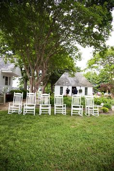 Rocking chairs at Woodlawn Estates in Southern Maryland. A rustic, waterside, country wedding.  Photography: Love Me Do Photography - lovemedophotography.com Flowers: Scarborough Farms - scarboroughfarms.com/  Read More: http://www.stylemepretty.com/2011/07/01/woodland-farms-wedding-by-love-me-do-photography/  http://woodlawn-farm.com/