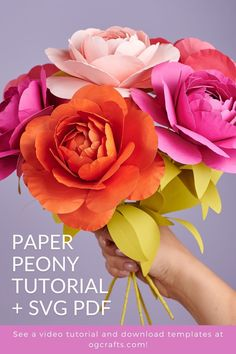 Learn how to make these beautiful paper peony flowers. Watch my video tutorial and download patterns to learn how you can make it! Paper Bouquet Diy, Flower Bouquet Diy, Diy Paper, Paper Crafts, How To Make Paper Flowers, Paper Flowers Wedding, Crepe Paper Flowers, Paper Peonies, Paper Flower Tutorial