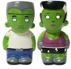 "Frankenstein & Mrs. Frankenstein Monster Salt & Pepper Shaker Set by Sourpuss. $15.00. Salt & Pepper Shaker. Ceramic. Measure 3.5"" Tall. Mr. & Mrs. Frankenstein Monster Shaker Set. Perfect for the unique kitchen!  Ceramic Salt & Pepper Shaker Set featuring Mr. & Mrs. Frankenstein.  Measure 3.5"" Tall."