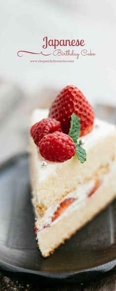 Japanese Birthday Cake by chopstickchroniclesYou can find Japanese cake and more on our website.Japanese Birthday Cake by chopstickchronicles Asian Desserts, Just Desserts, Delicious Desserts, Yummy Food, Dessert Chef, Dessert Recipes, Sashimi, Tempura, Japanese Birthday