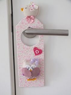 Door knob hanger!! Lovely pink owl!! So cute!