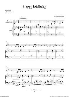 Trumpet Sheet Music | Happy Birthday for trumpet or clarinet and piano, free sheet music