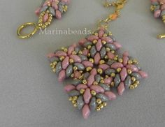Pink and Grey Super Duo pendant