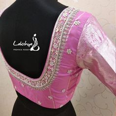 Beautiful blush pink color designer blouse with floral design hand embroidery bead and silver thread work. Blouse with pattu sleeves. Wedding Saree Blouse Designs, Pattu Saree Blouse Designs, Blouse Designs Silk, Designer Blouse Patterns, Dress Patterns, Simple Blouse Designs, Blouse Back Neck Designs, Hand Work Blouse Design, Indie