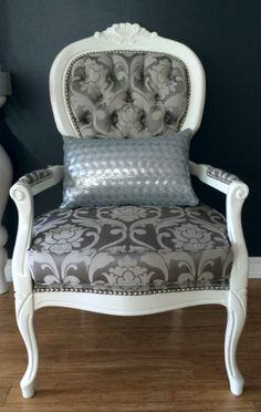 Silver damask Queen Anne chair with nailheads.