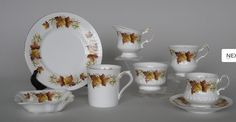 """""""Maple leaf"""" china by Queen's Rosina, Britian.  Period is from 1941 to ? I like the embossed teacup and saucer more than the simple one or coffee cup.  Nice pattern."""