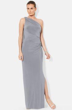 Lauren Ralph Lauren Petites Gown Cowlneck Cap Sleeve Metallic Knit