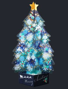 Blue Crystal 3D Christmas Tree Pop Up Greeting Card #NihonHallmarkKK #ChristmasTree #Christmas