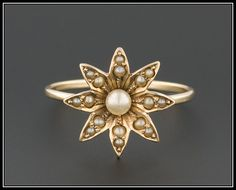 14k Gold Flower Ring  Antique Stick Pin Ring  by TrademarkAntiques