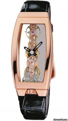 Corum Golden Bridge with chronograph pink gold case, crocodile skin bracelet and manual winding