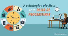 Deja de postergar las cosas porque el tiempo perdido jamas regresa! aquí te doy las 5 estrategias efectivas para que dejar de Procrastinar.  http://jesicaperez.net