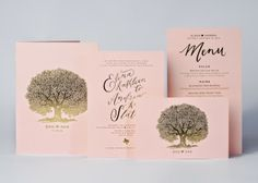 modern pink and gold stationery suite with oak tree motif designed by The Nouveau Romantics, printed by Norman's Printery
