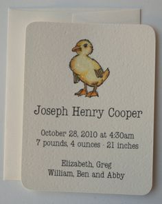 8 duckling announcements hand glittered by gaddieandtood on Etsy