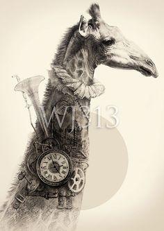 Steampunk Giraffe art print illustration 12 x 17 by wj313 on Etsy, $35.00