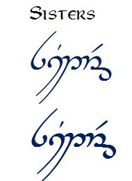 sisters in elvish writing  @danibell91210