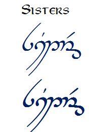 sisters in elvish writing @danibell91210