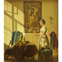 Woman reading a letter in a Vermeer inspired interior