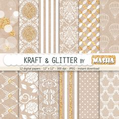 "Kraft digital paper: ""KRAFT AND GLITTER"" with craft digital paper, kraft wedding patterns, white and glitter patterns for scrapbooking"