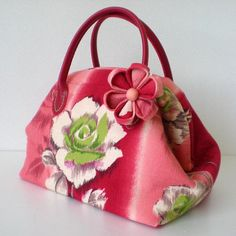 Japanese Kimono Mini boston bag with brooch, Rose in red, found on Etsy, by Tago Design