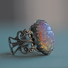 harlequin opal engagement ring i love opals my birthstone and exotic pieces - Exotic Wedding Rings