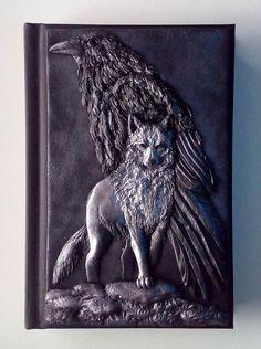 Wolf & Raven polymer clay journal notebook fantasy 98 by ClaymanPL Polymer Clay Painting, Leather Book Covers, Cool Journals, Raven Art, Witch Art, Journal Covers, Book Of Shadows, Clay Projects, Book Crafts